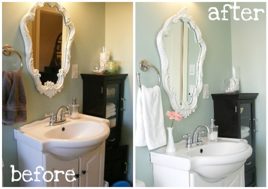 Cleaning and Maintaining the Bathrooms, which shows before and after the job is done